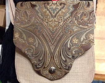 Truffle Brown Purse w/Linen Look Fabric.