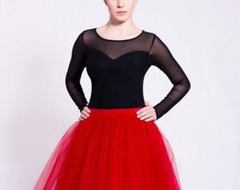 Jersey blouse, black blouse with heart-neck, elegant blouse, see-through blouse, heart neckline, mesh blouse