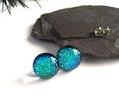 Blue Green studs -Dichroic post type, for her Earrings- Fused bright blue glass friend earrings, green, blue, weddings, bridesmaid, ER510