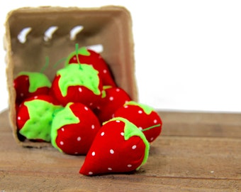 A basket of 10 catnip strawberry cat toys with FREE shipping (USA only)