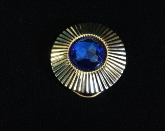 Vintage Gold Tone Scarf Clip with Large Cobalt Blue Faux Rhinestone Center (JT6)