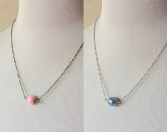 rose pink or serene blue single bead necklace, 2016 Pantone colors, minimalist jewelry