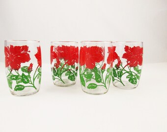 Set of Six Red Hibiscus Glasses - Red to Green Ombre Color - 8 Oz. Drinking Glasses - Mint Condition - Barrel Shape Glasses