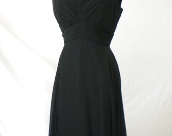 Vintage 1950s { LBD Little Black Dress - Silk Chiffon } Size 8 10 Medium - Bombshell with Elegance!