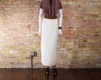 candid aries 90s sweater skirt / angora skirt / lambswool / cream sweater skirt / 90s minimalist / column skirt / midi skirt / fuzzy skirt