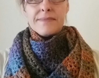 Chunky extra long crocheted scarf