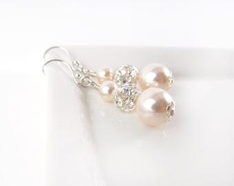 Pearl Bridal Earrings Drop Earrings Rhinestone Pearl Wedding Jewelry Glamorous Vintage Style Bride Jewellery