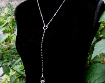 Crystal Drop Necklace // quartz crystal pinned in sterling silver // long dangle pendant // bohemian jewelry (4095)