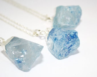 Blue Quartz Necklace Chunky Raw Quartz Crystal Necklace Silver Blue Quartz Necklace Quartz Rock Necklace