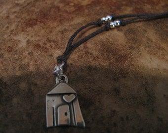 Sterling Silver and Natural Hemp Pendant Necklace Heart House Handmade- Toniraecreations