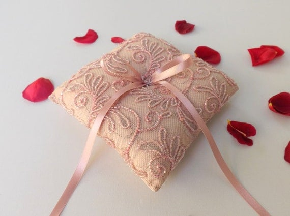 Antique pink wedding ring pillow. Pink ring bearer. Embroidered lace flowers ring pillow. beaded lace cushion ring.
