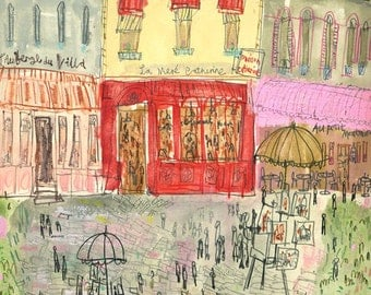 La Mère Catherine, Paris Place Du Tertre, French Brasserie Watercolor Painting, Paris Restaurant, Signed Art Print, Parisian Drawing
