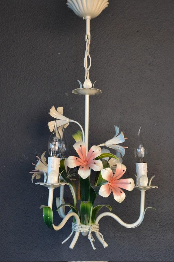 French tole Flower Chandelier around 1950