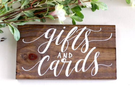 Rustic wedding sign gifts and cards sign by for Table 6 gift card