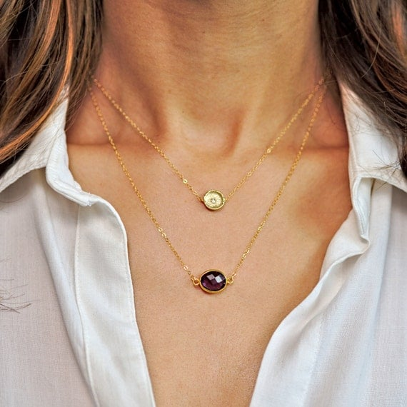 Gold Amethyst Layer Necklace