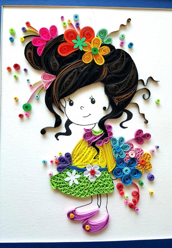 Paper Quilled 'Evelynn' cute little girl Doll Nursery decor, kids room artwork, Wall art,birthday,  Christmas gift ideas
