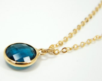Navy blue crystal gold necklace, 14k gold filled necklace, bridsmaid jewelry,