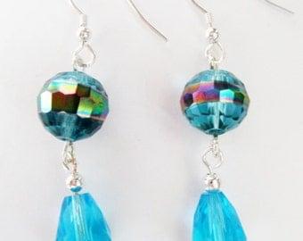 Hypoallergenic Iridescent Aqua Glass Earrings