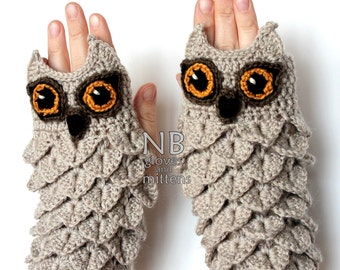 Hand Crocheted Fingerless Gloves, Owl, Clothing and Accessories, Accessories, Gloves & Mittens, Gift Ideas,