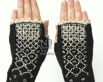 Knitted Fingerless Gloves, Black, Blackwork Embroidery, Clothing And Accessories, Gloves & Mittens,
