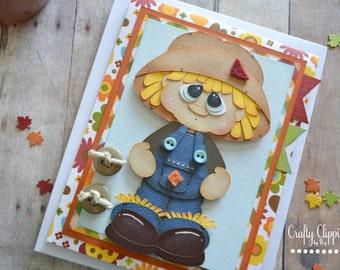 Scarecrow Card, Fall Card, Autumn Greeting Card, Happy Fall, Scarecrow Paper Piecing,  Pumpkin Card,Halloween card, Fall Birthday Card