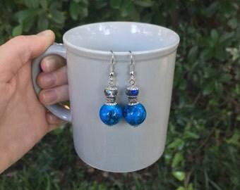 Handmade Blue Beaded Dangle Earrings