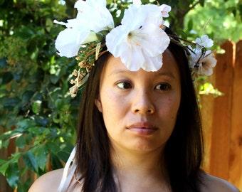 Bohemian Bride - Ethereal White & Peach Blooms - Wedding Floral Circlet/Crown/Headpiece