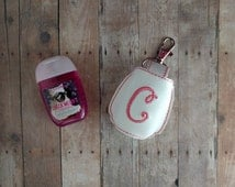 Monogram Pocket Hand Sanitizer Holder- White Vinyl with Snap, and Pink Monogram, Great for Backpacks, Bags and Purses, Choose from 25 Colors