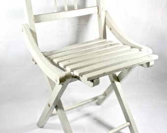 White Wooden Kids Chair Foldable 1930s Furniture Vintage Kids Room Decor Interior Design