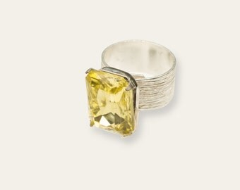 Solitaire Ring: Emerald cut Vintage Swarovski Jonquil 18 x 13mm