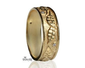 14k Hand engraved leaf wedding band, leafs wedding ring , vintage leaf gold band , 18k solid yellow gold engraved leaf band, woodland leafs