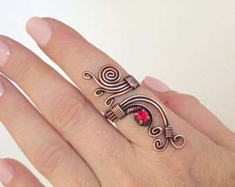 wire wrapped ring, copper wire with red crystal stone ring, wire wrapped jewelry handmade, copper wire jewelry
