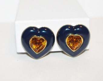 Joan Rivers Heart Earrings - Clip On Navy Blue and Topaz - S1817