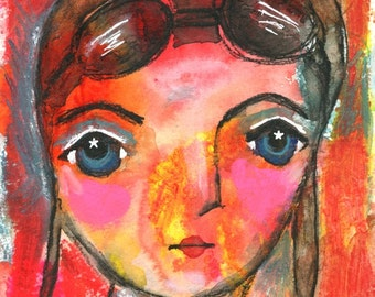 Aviator, Amelia, Amelia Earhart, Girl Power, Mixed Media, Mixed Media Art, Starry Eyed, Aviation, Aviation Art, Girl Art, Girls Room Decor