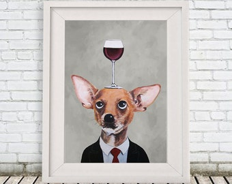 Chihuahua Print, Chihuahua Illustration Art Poster Acrylic Painting Kids Decor Drawing Gift, Dog with wineglass