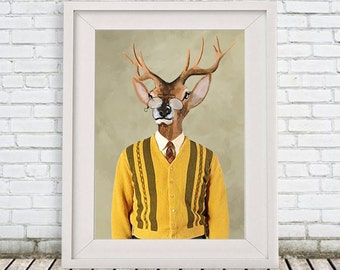 Deer Print,  Antler, Stag, Deer Art, Deer Art Print, Deer Artwork, Wall Decor, Wall Art, Deer Wall Hanging, 8x10,Gift For Men,Sixties