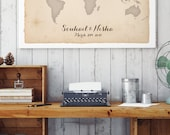 Canvas World Map Guest Book Alternative - Rustic Wedding Guestbook - Unique Guest Book - Travel Guest Sign in CANVAS Guest Book