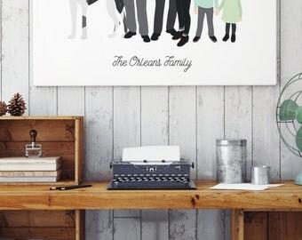 Custom Family Portrait, Illustrated Family Portrait, Custom Family Cartoon, Canvas Family Art