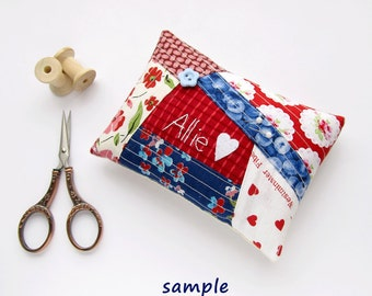 Personalized patchwork pincushion, Hand embroidered OOAK Pin cushion, Personalized gift, needle holder - Made to order