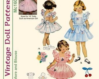 "KRVP-Mc1605DD, 18"" American Girl, Vintage 1950's Pinafore & Blouse PATTERN, Digital Download"