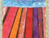 Flower field quilt 2, Quilted Art, wall hanging, home decor, fabric art