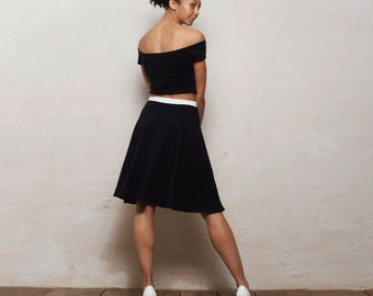 Coco Two Piece Crop Top and Skater Skirt Set in Monochrome