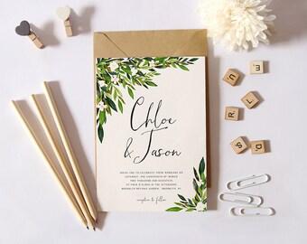 Greenery Wedding Invitation Set,Printable Simple Wedding Invitation,Garden  Wedding Invite, DIY Wedding