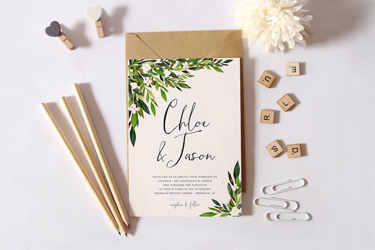 greenery invitation photo wedding invitations Greenery Wedding Invitation Set Printable Simple Wedding Invitation Garden Wedding Invite DIY Wedding Suite Botanical Invite Green Leaves