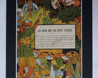 1870s Antique Full Set (Pt1) of Walter Crane's Ali Baba and the Forty Thieves, Arabian Nights Victorian Nursery Decor Woodblock Illustration