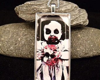 """Scary Horror Zombie Doll Pendant with 23"""" Ball Chain"""