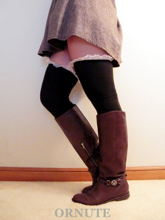 thigh high socks thigh high lace boot socks s by ornute