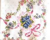 Vintage Hanky Pink Blue Flower Bouquets Scalloped Edge