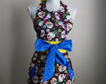 The Daisy *Halloween*  Ladies Apron | Handmade | Full Apron | Baking Apron | Vintage Apron | Retro Apron | Los Muertos