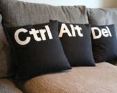 Ctrl Alt Del 16'' black white pillow cushion cover , set of three , felt letters
